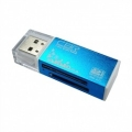 "USB 2.0 Card reader CBR Human (""Glam"") CR-424, синий цвет, All-in-one, Micro MS(M2), SD, T-flash, MS-DUO, MMC, SDHC,DV,MS PRO, MS, MS PRO DUO  [Гарантия: 5 лет]"